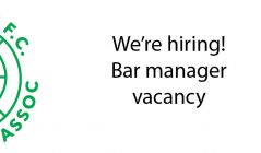 Bar manager vacancy at Hibs Club