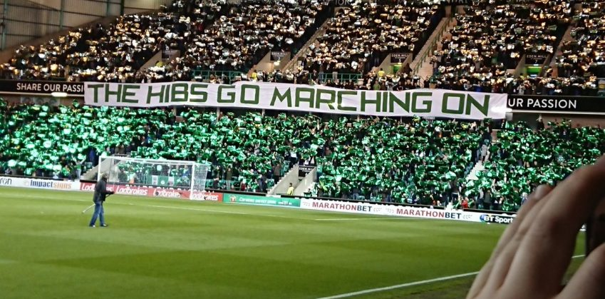 The Hibs Go Marching On banner